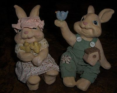 Rabbits- Set Of 2 Super Cute Spring Or Easter Bunnies