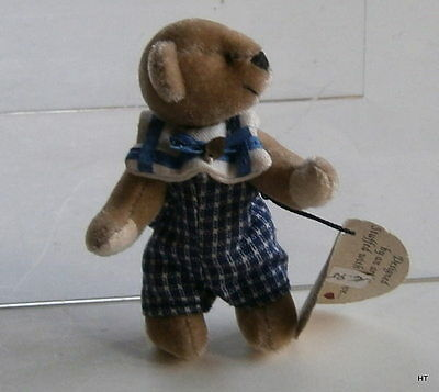 """Ganz Cottage Collectible  Fully Jointed Plushminiature Bear """"steve"""" Artist Lynda"""