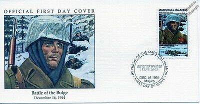 """1944 BATTLE OF THE BULGE - US INFANTRY """"Watch on the Rhine"""" WWII Stamp FDC"""