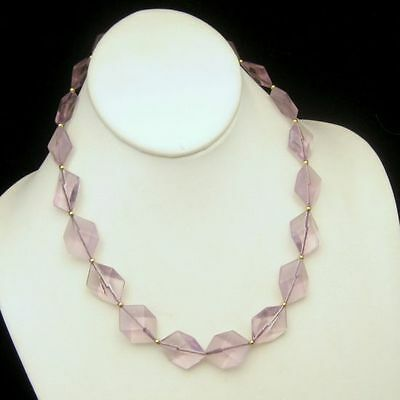 Vintage Lucite Beads Statement Necklace Faux Amethyst Transluscent Hexagon