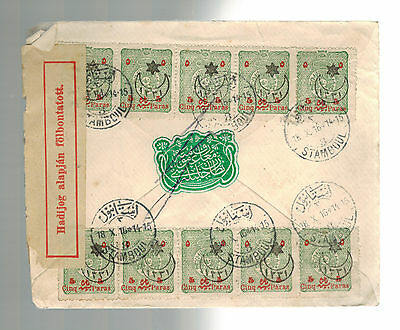 1916 Istanbul Turkey Censored Cover to Grand Hotel Budapest Hungary