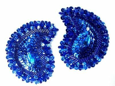0361~  Royal Blue Paisley Beaded Sequin Appliques 3.25""