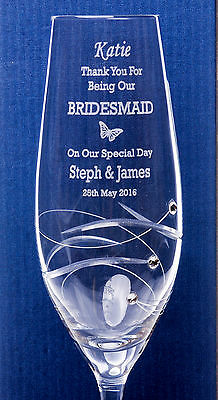 Personalised WEDDING BUTTERFLY Diamante Flute Glass Gift For Bridesmaid