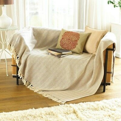 Como Throw Blanket for Chair/Bed or Sofa, Beige Cotton 170cm x 200cm