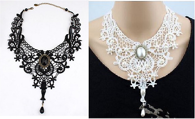Black Or White Gothic Victorian Look Lace & Faux Pearl Necklace Choker