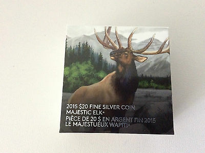 Canada 2015 'Majestic Elk' Colorized Proof $20 Silver Coin 1oz 9999 Free ship