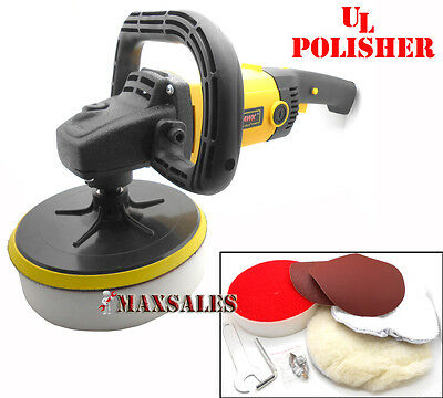 "7""  AUTO CAR PAINT POLISHER/BUFFER SANDER UL 10AMP NEW w/ VELCRO BACKING PAD"