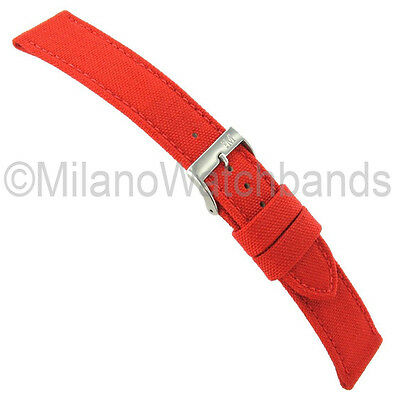 18mm Morellato Padded Stitched Genuine Cordura Canvas Bright Red Watch Band