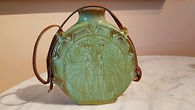 Frankoma Pottery Prairie Green Thunderbird Water Canteen With Strap