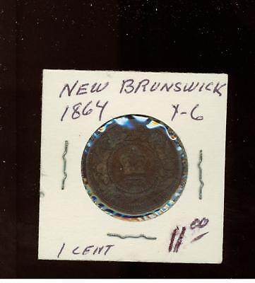 1864 New Brunswick Canada One Cent  Penny coin # Y 6