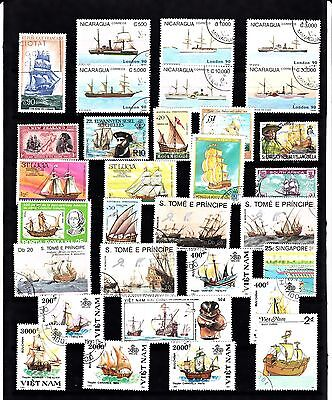 BOATS SHIPS Thematic STAMP COLLECTION Used Ref:TH586J
