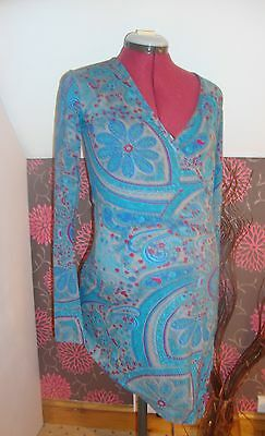 BNWT MATERNITY Asymmetric Teal Patterned Long Sleeved Wrap Top 16