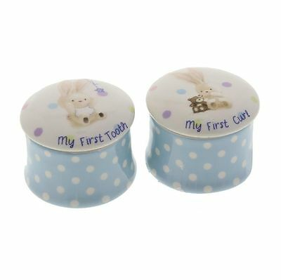 Baby Boy Or Girl Bebunni Rabbit First Tooth and Curl Trinket Box Keepsake Set