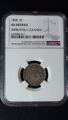 1868 P Shield Nickel NGC AU Details 5c Coin