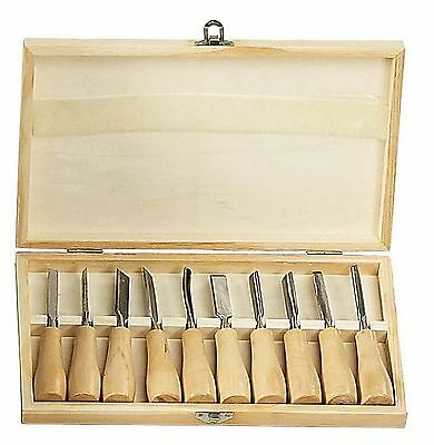 "HAWK TZ7410W - 10 Pc 5-3/8"" long Hobby Wood Carving Chisel Set w Storage Box"