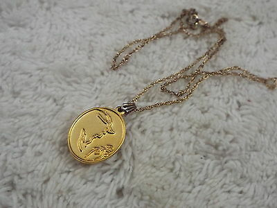 DISNEY Goldtone Beauty and the Beast Beast & Rose Pendant Necklace  (A30)
