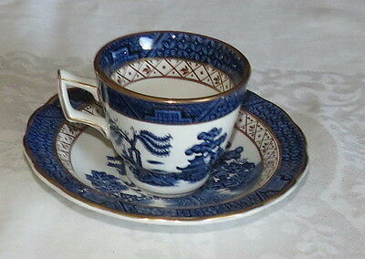 "Booths Real Old Willow A8025 Demitasse 2.3/8"" Cup & Saucer - excellent"