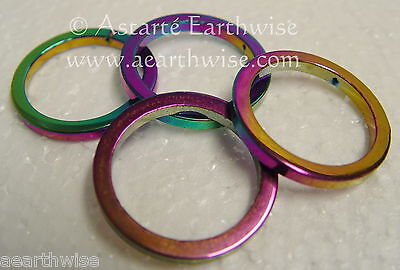 3 X RAINBOW HEMATITE CRAFT RINGS Wicca Witch Pagan Goth JEWELLERY MAKING DECOR