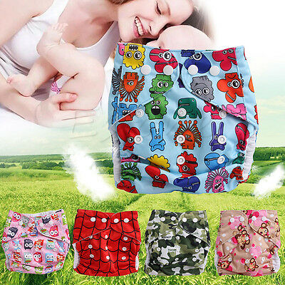 Washable Adjustable Cartoon Diapers Baby Waterproof Cloth Cover Reusable Nappy