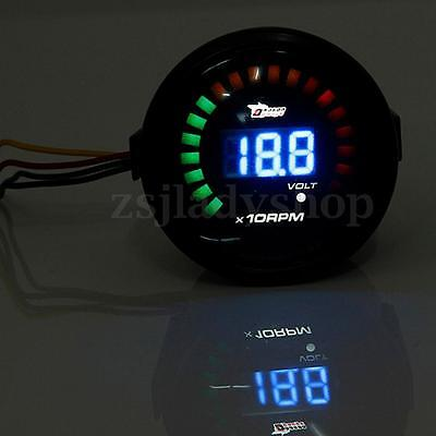 2'' 52MM Car LED Digital Tachometer Tacho Meter Rev RPM Voltmeter Voltage Gauge