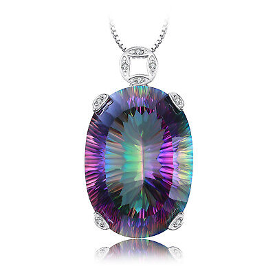 42ct Fabulous Genuine Fire Rainbow Coated Quartz Pendant 925 Sterling Silver