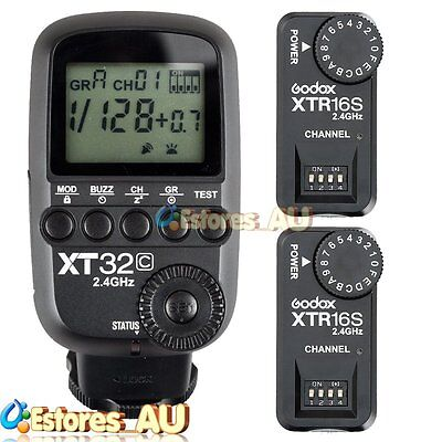 【AU】Godox XT32C 2.4G 1/8000s Wireless Flash Trigger+2x XTR-16S Receiver Fr Canon