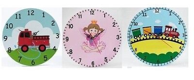 Modern Contemporary Children's Wooden Battery Clock with Hand Painted Design