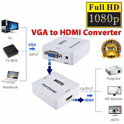 VGA to HDMI Full HD 1080p Video Audio Converter Box Adapter for PC TV Laptop DVD