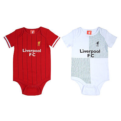 Liverpool FC Official Football Gift 2Pk Home Away Kit Baby Bodysuits Red White