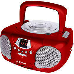 Groov-e GVPS713 Portable Audio CD Player Radio Boombox Aux Input LED New - Red