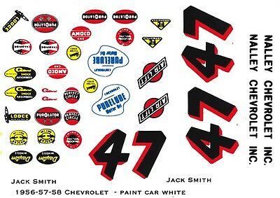 #47 Jack Smith Nalley Chevrolet 1/24th - 1/25th Scale Waterslide Decals