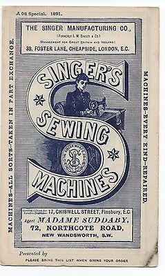 1891 Advertising Brochure for Singer Sewing Machines New Wandsworth & London