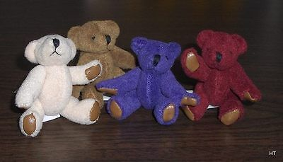 "Set Of 2 Plush  Miniature Bears  Only 2 1/4 "" Your Color Choice"