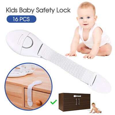 16X Child Kids Baby Safety Lock For Door Drawers Cupboard Cabinet Adhesive
