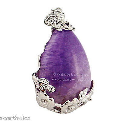 AMETHYST FLOWERS PENDANT A Wicca Witch Goth Pagan Reiki HEALING CRYSTAL