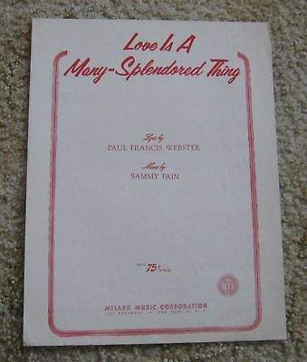 Love is a Many Splendored Thing Sheet Music 1955