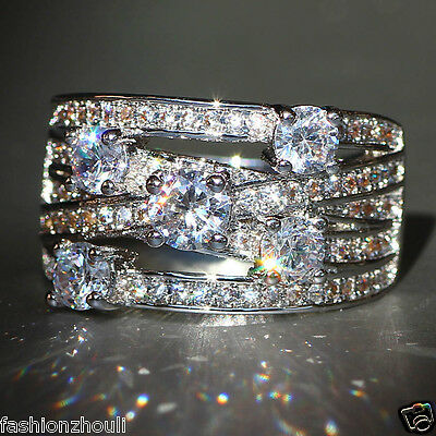 Fashion White Sapphire 925 Silver Filled Wedding Engagement Bridal Ring SIZE6-10