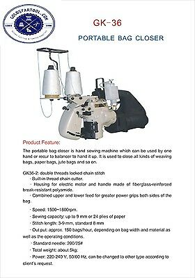 DOUBEL THREAD Portable Manual Bag Sack Closing Machine Stitcher Sewing 110V Tool