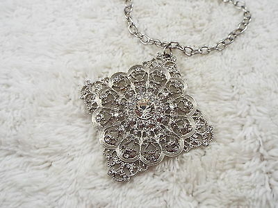 Silvertone Faux Rhinestone Filigree Pendant Necklace (C23)