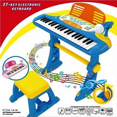 Electronic Blue 37 Key Musical Light Up Keyboard Piano Mic And Stool Toy Playset