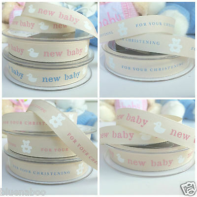 PER METRE Berisfords new baby & Christening ribbons blue or pink 15mm wide