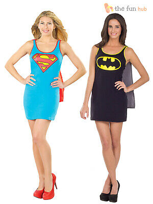 Ladies Superhero Fancy Dress + Cape Halloween Party Costume Womens Adult Outfit
