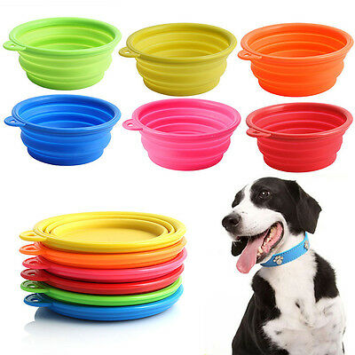 Collapsible Silicone Cat Dog Pet Feeding Bowl Water Dish Feeder Portable Hot