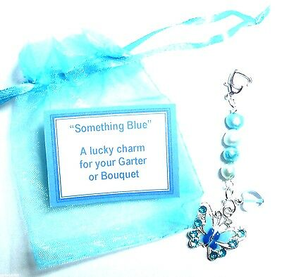 Something Blue Bridal Charm Butterfly Heart on Pearls for Bouquet or garter