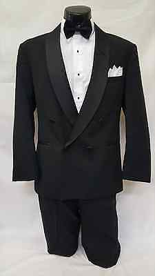 42 R Mens Black Classic Double Breasted Shawl Tuxedo Jacket Formal Wedding Coat