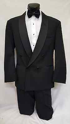 39 L Mens Black Classic Double Breasted Cruise Tuxedo Jacket Formal Wedding Coat