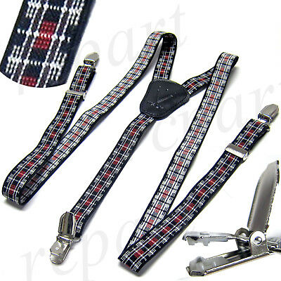 New Y back Kid's Boy's Suspender Braces elastic strap clip on plaid & checkers