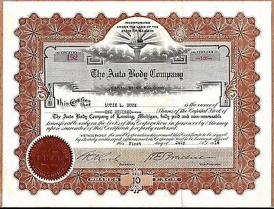 AUTO BODY COMPANY, 100 Shares STOCK CERTIFICATE 1916 Lansing Michigan