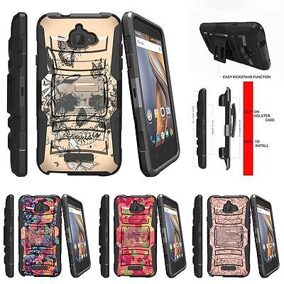 For Coolpad Catalyst| Rugged Holster Clip Stand Case Butterfly Skull