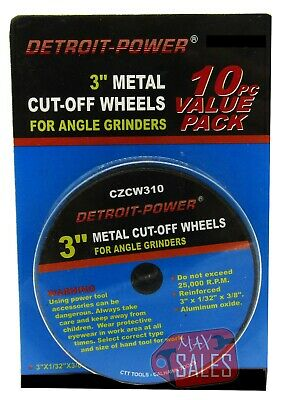 "10pc 3"" X 1/16"" CUT OFF WHEELS 3/8"" ARBOR & 1/4"" SHANK ARBOR ADAPTER"